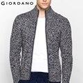 Giordano homens camisola gola mangas compridas cardigan sweaters zipper mistura de algodão sueter casacos hombre masculina