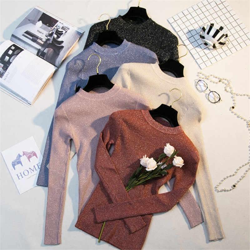 반짝 이는 lurex 가을 겨울 스웨터 여성 긴 소매 풀오버 여성 기본 스웨터 여성 2019 한국어 스타일 니트 탑스 femme l102