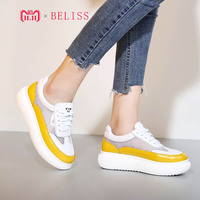 BELISS summer flat platform women shoes lace up cow leather womans shoes fashions 2018 light breathable mesh casual sneakers M15