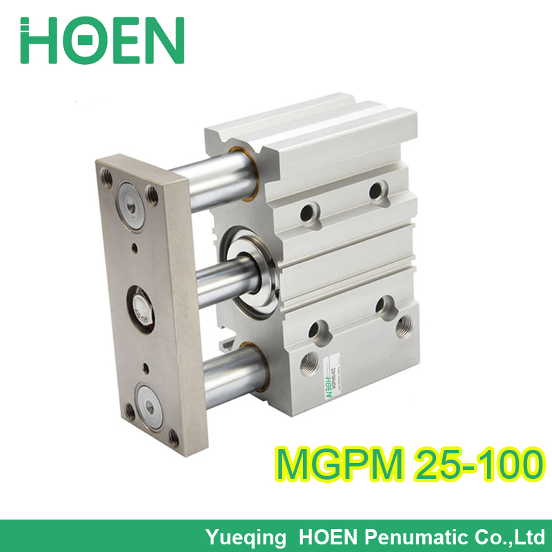 MGPM25-100 bore 25mm stroke 100mm Three Shafts Guided Air Cylinder Heavy Duty Compact Pneumatic Cylinder SMC type MGPM series mgpm80 30 smc type 80mm bore 30mm stroke smc thin three axis cylinder with rod air cylinder pneumatic air tools mgpm series