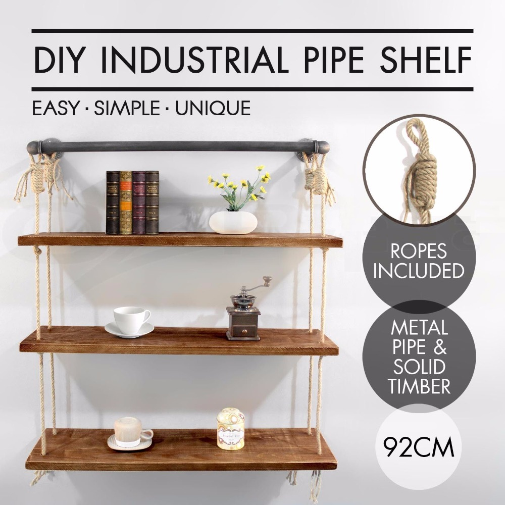 Industrial Rustic Urban Iron Pipecotton Wall Mounted Shelf 3 Layers Wooden Board Shelvin ...
