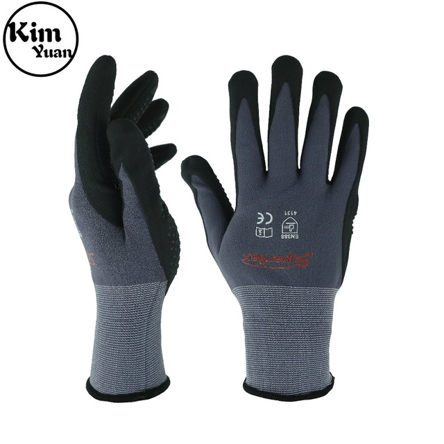 KIM YUAN Nylon Knit Work Gloves with Micro Foam Technology & Spandex Liner Nitrile Coated Work Gloves  Men's Thin Working Gloves