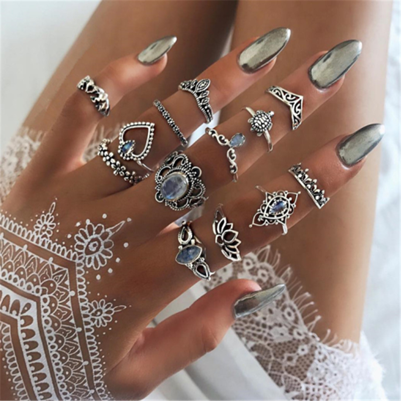 Ring-Set Crystal-Ring Finger-Jewelry Silver-Color Vintage Bohemian Fashion Women