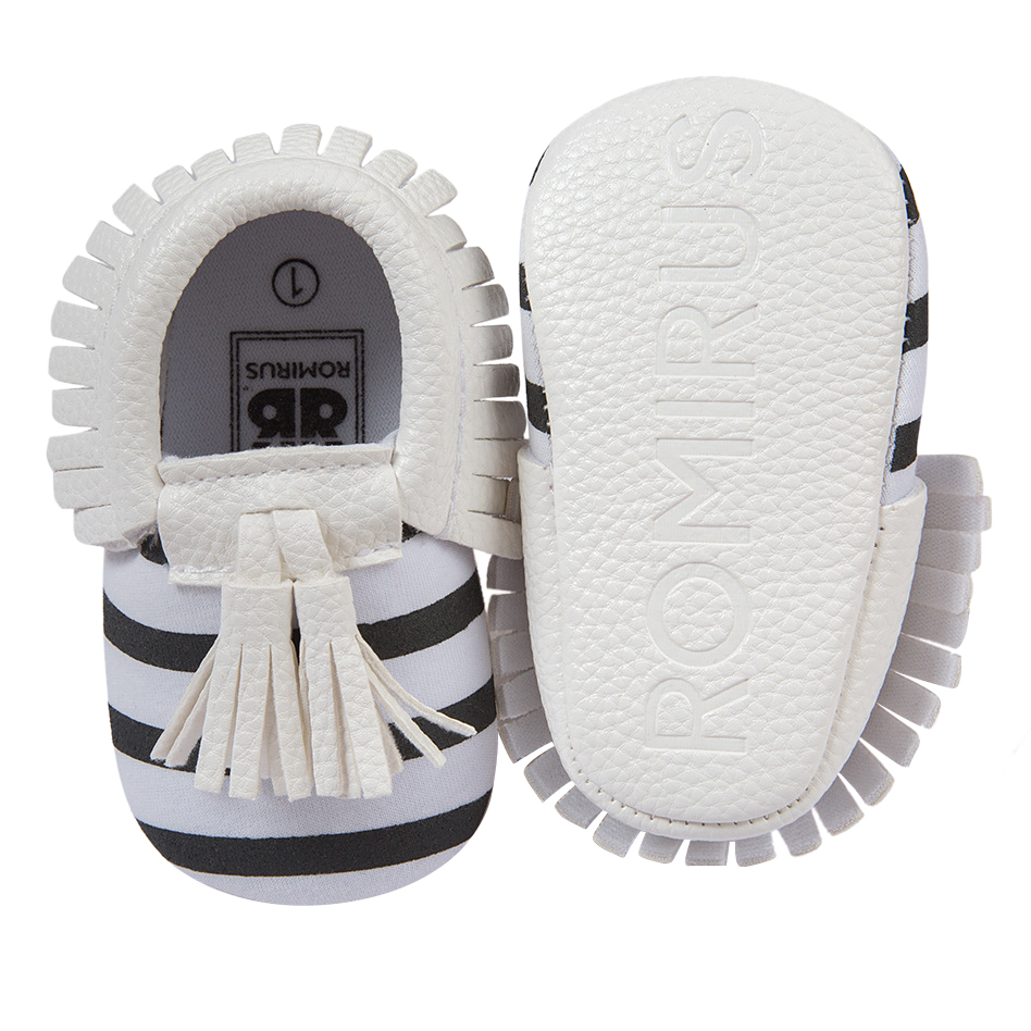 Baby Moccasin Newbron Baby First Walker Soft Bottom Non-slip Baby Shoes Kids Leather Prewalkers Boots Striped White
