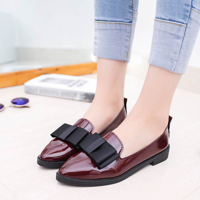 2017 New Patent leather Women Loafer Wine Red Butterfly-knot Women Loafers High Quality Casual Shoes Slip On Pointed Toe Shoes dreamshining high quality patent leather wine red women causal pointed toe shoes bow knot ladies flat loafers shoes