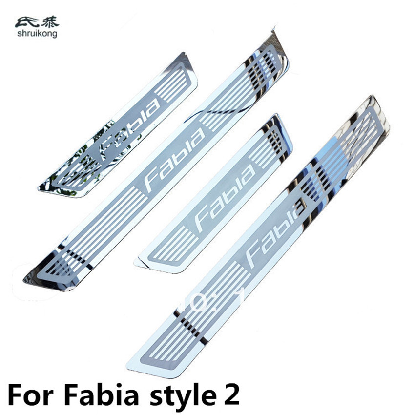 Ultra-thin Stainless Steel Door Sill Scuff Plate For Skoda Fabia Octavia Superb Rapid  Free Shipping