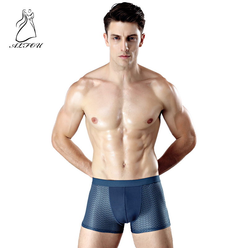 Men's Underwear Shorts Mesh Ice-Silk Male Breathable Cotton Plus-Size Solid Regenerated