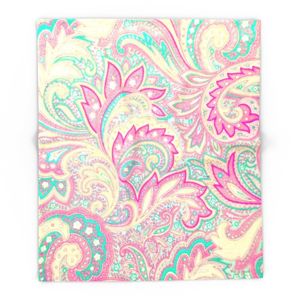 "Pink Turquoise Girly Chic Floral Paisley Pattern Rug By: Pink Turquoise Girly Chic Floral Paisley Pattern 51"" X 60"
