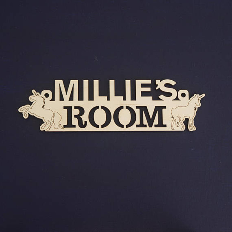 Personalised Custom Children Name Plaques Rustic Wooden Room Sign With  Unicorns Design Kids Birthday Gift Room Home Wall Decor In Decorative  Boards From ...