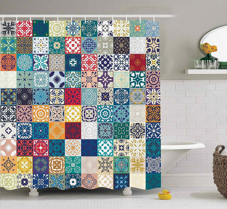 Cortina de ducha de decoración marroquí Set Mega patrón de retazos con diferentes figuras arábigas coloridas Original tunecina