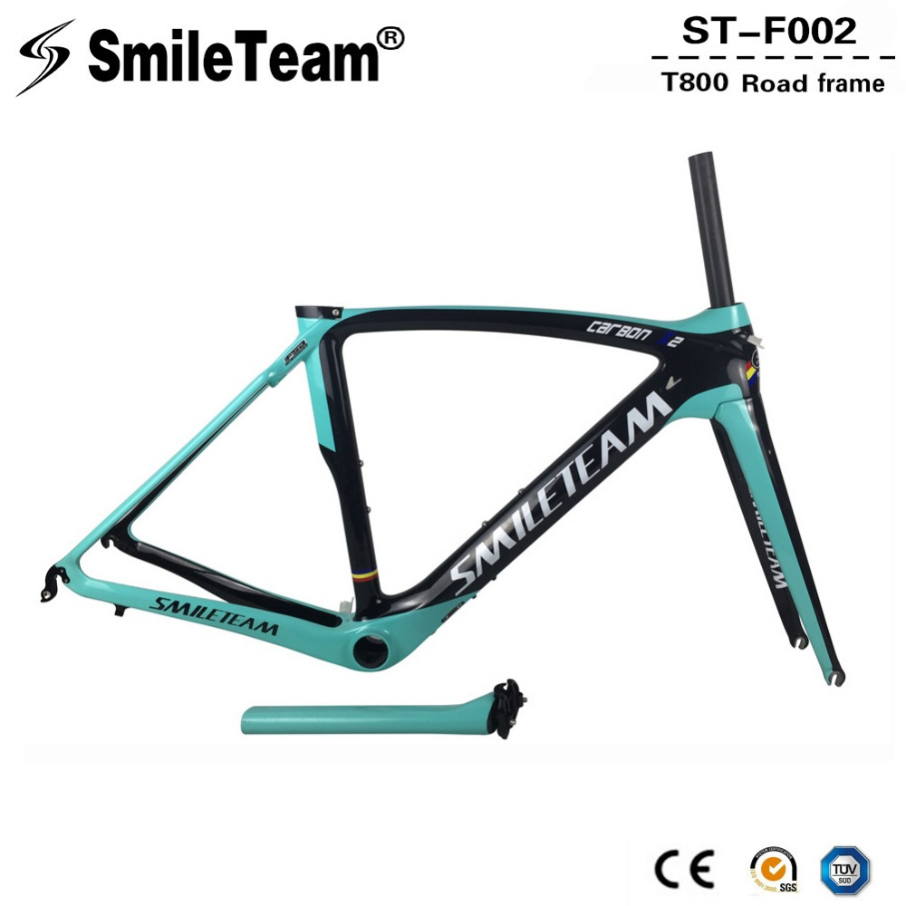 SmileTeam 2018 New Full Carbon Road Bike Frame OEM Ultralight Racing Bicycle Carbon Frameset With Fork Seatpost Headset BB386 leadnovo t800 ud carbon road bike frame light weight racing bicycle frameset seatpost fork headset accept customized painted