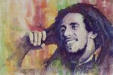 Portrait leinwand malerei figur druck aquarell meisterwerk riesenposter drucke auf leinwand Bob Marley sänger guitar player