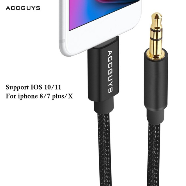 new product 93199 7ed5c US $9.03 20% OFF|ACCGUYS IOS to 3.5mm jack Audio Cable Home Car Transfer  Extension AUX Cord For iPhone XS/X/8/7/7 Plus 6 Headphone Speaker IOS 11-in  ...