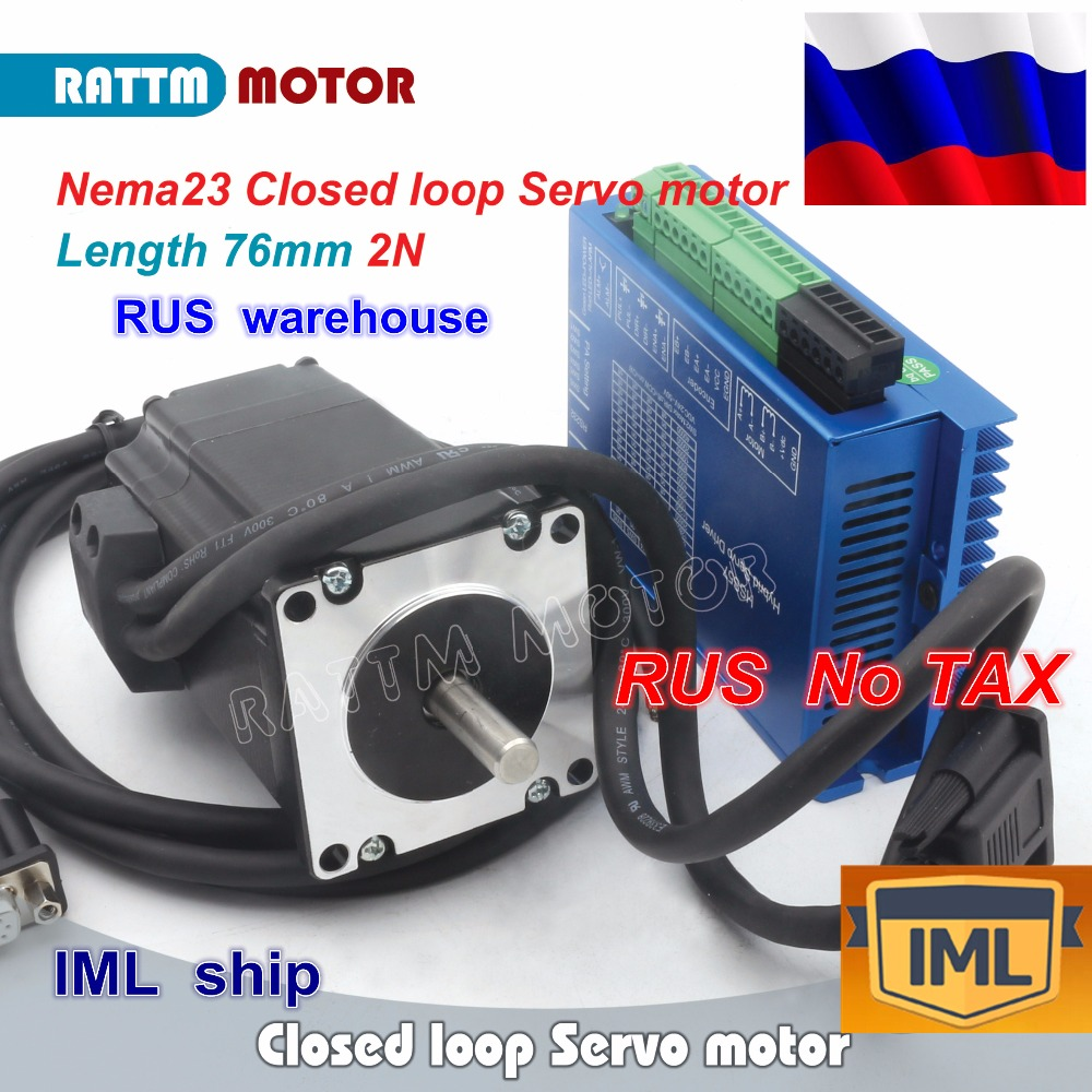 RU ship Nema23 Closed Loop Servo motor Motor Kits 76mm 4.2A Closed Loop 2N.m & 2HSS57H Hybrid Step-servo Driver CNC ControllerRU ship Nema23 Closed Loop Servo motor Motor Kits 76mm 4.2A Closed Loop 2N.m & 2HSS57H Hybrid Step-servo Driver CNC Controller