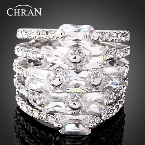 Chran New Austrian Crystal Fashion Wedding Rings For Women and Men Jewelry Accessories Best Gifts