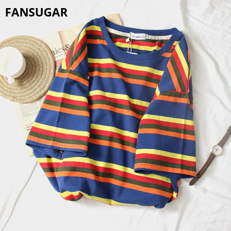 100% Cotton Stripe Women's T-shirt Short Sleeve Kawaii Harajuku Modis Hip Hop Street Rainbow Half Oversized Tops Female 2019