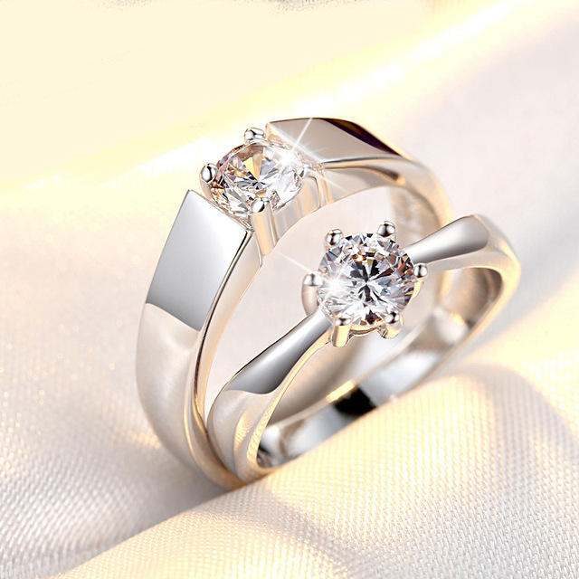 Korean Style Couple Rings Open Zircon Love Couple Ring Men And Women