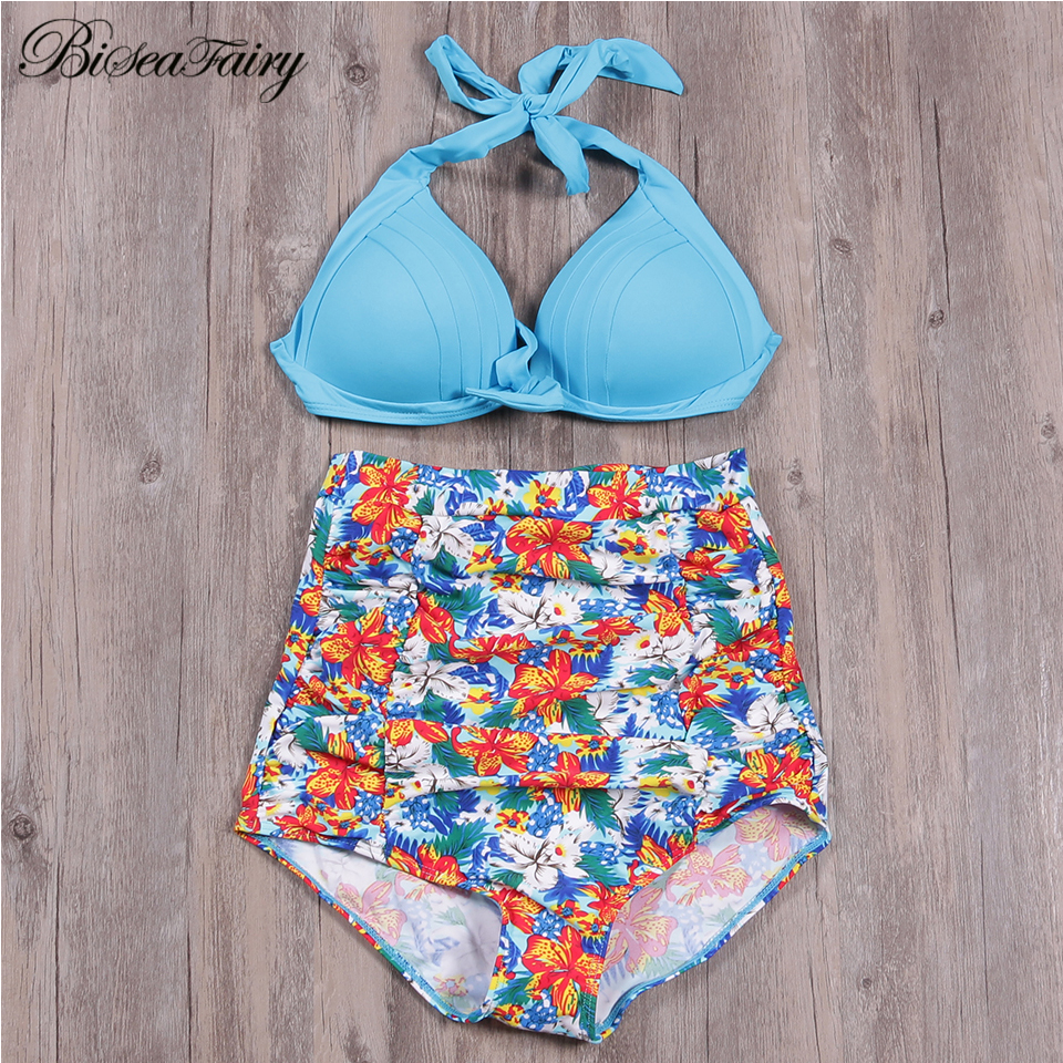 BISEAFAIRY Bikini Set  2019 New Push Up High Waist Swimsuit Bikinis Women Solid Print Swimwear Vintage Retro Halter Bathing Suit