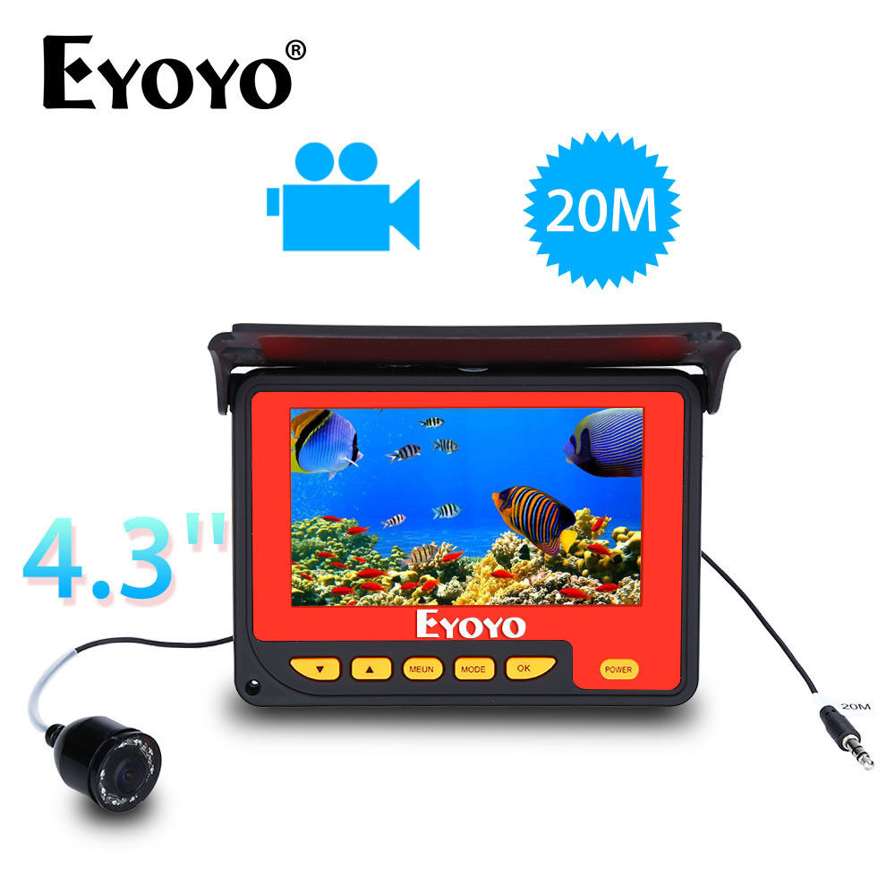 EYOYO F05 4.3 20M DVR 150degrees Infrared IR Underwater Ocean River Fishing Camera Fish Finder Video Fixed on the Rod 8pcs LED eyoyo 930m touch screen infrared hd 1000tvl underwater fishing camera fish finder video fishfinder ocean river sea boat fishing