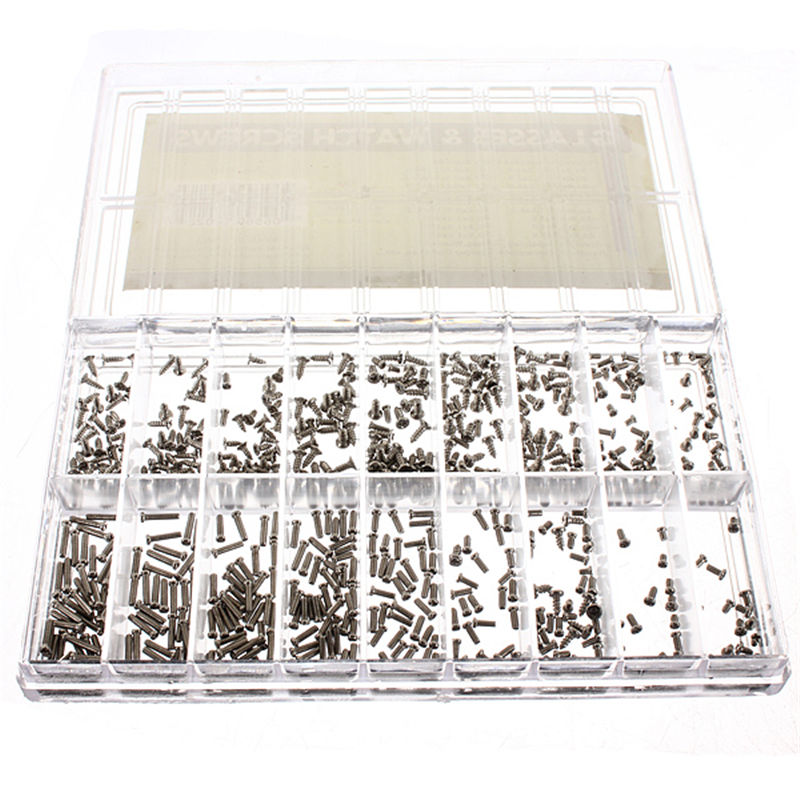 MTGATHER 900Pcs/Set Stainless Steel Tiny Screws For Eye Glasses Watch Clock Repair Kit Tools Box Of Assorted Screws Top Quality 147 pcs portable professional watch repair tool kit set solid hammer spring bar remover watchmaker tools watch adjustment