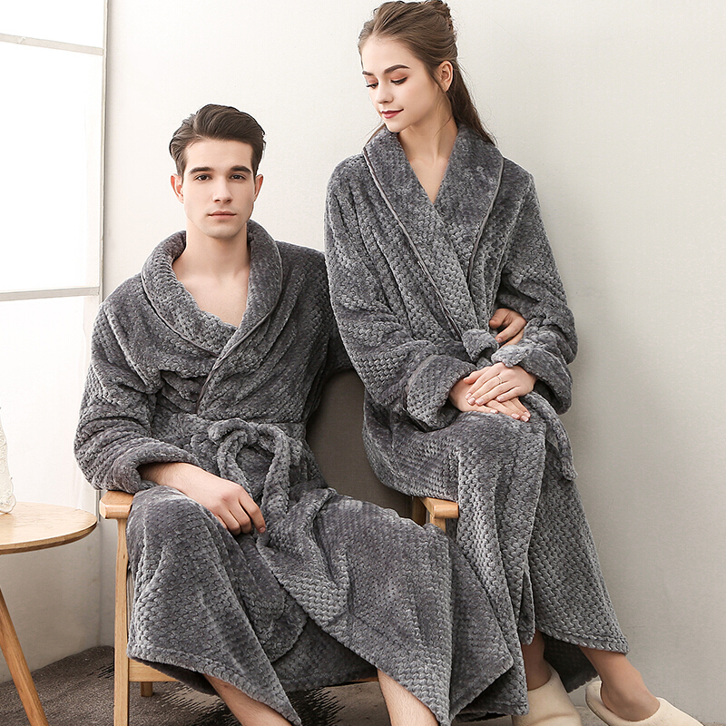 Mens Flannel Soft Cozy Thermal Nightwear Robe Sleepwear Pajama Bath Male Robes V6(China)