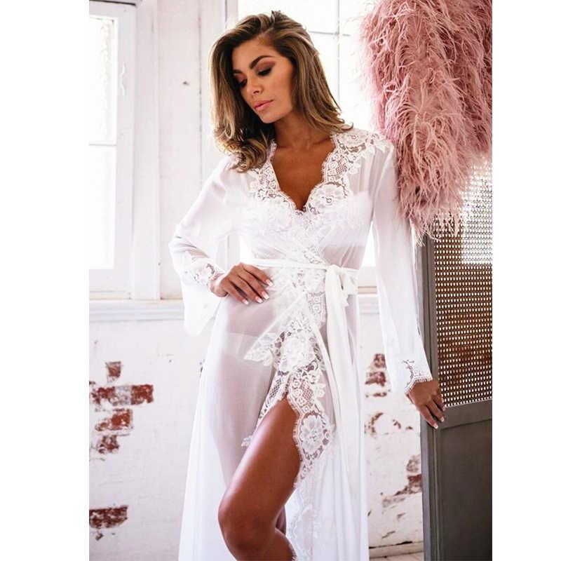 0af76af7aff6f ... Sexy-Lingerie-Sleepwear-Lace-Women's- Sleeping Long Bathrobe Nightdress  ...