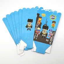 6PCS Batman/Super man/Captain America/Iron Man/Super hero Theme Birthday Party Popcorn Cups Baby Shower Decorate Gifts Boxes