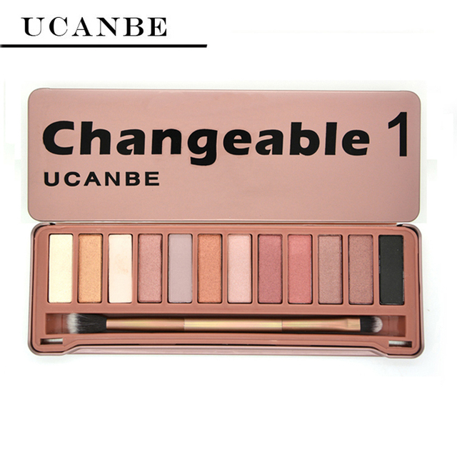 UCANBE Brand NAKED Eye shadow Makeup New Changeble 1 palette 12 Colors eyeshadow palettes with brush makeup set cosmetics