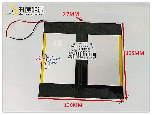3.7V 8000mAH SD 37125130 Polymer lithium ion / Li-ion battery for tablet pc;onda,cube,ainol,pipo