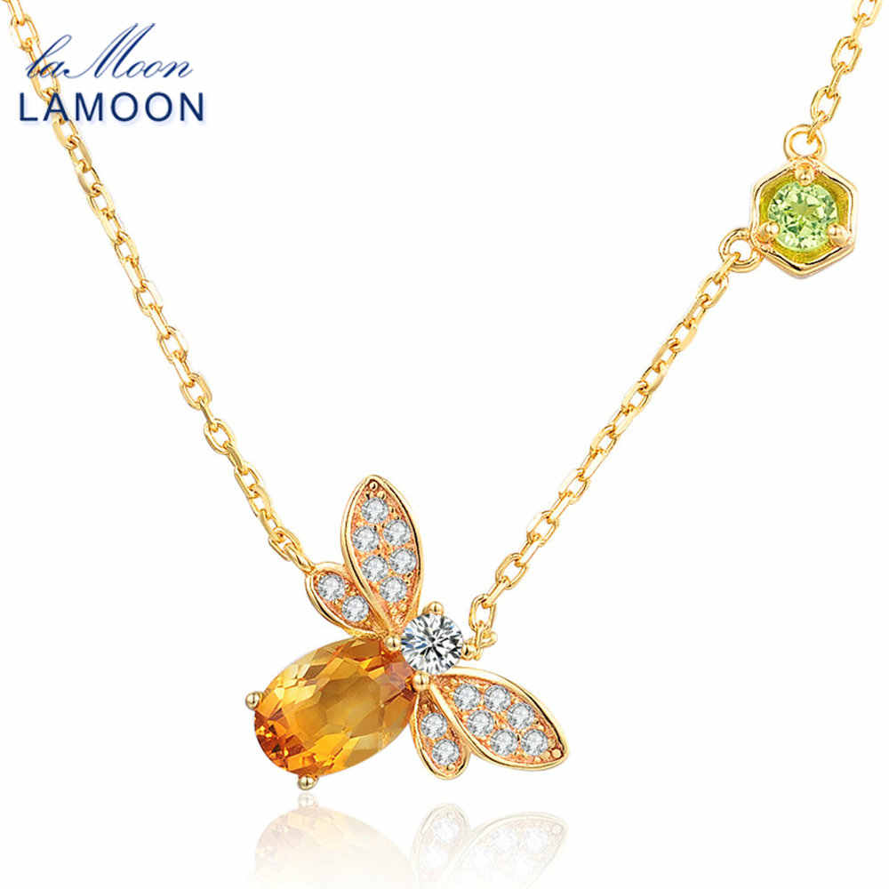LAMOON- Bee 5x7mm 1ct 100% Natural Citrine 925 Sterling Silver Jewelry  Chain Pendant Necklace S925 LMNI015