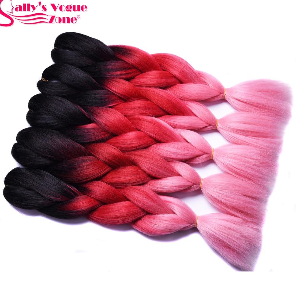 Ombre Συνθετική Πλέξη Μαλλιών Jumbo Braids 3 Tone Μαύρο Κόκκινο Ροζ Χρώμα Sallyhair 24 ιντσών Υψηλής Θερμοκρασίας Ινών Προέκταση μαλλιών