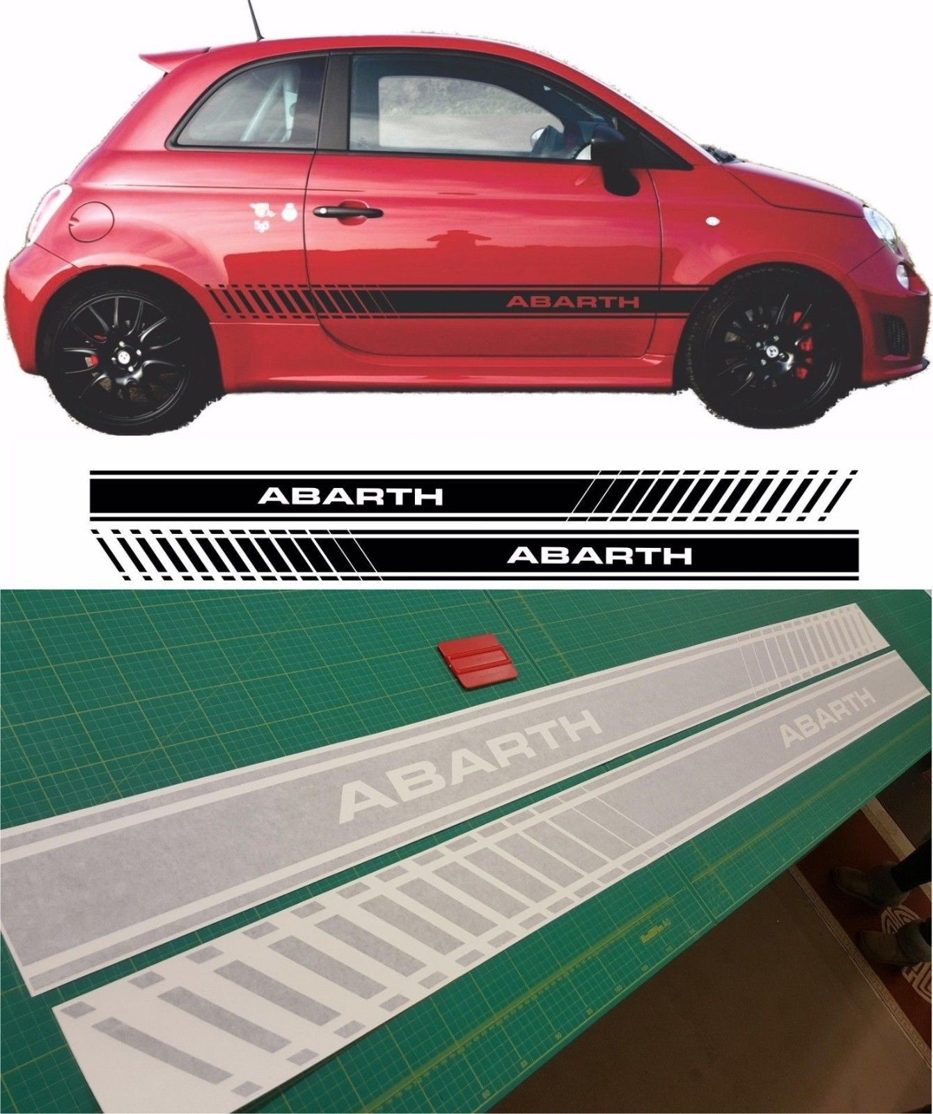 Fiat 500 Side Stripes Decals Stickers Vinyls any colours custom design