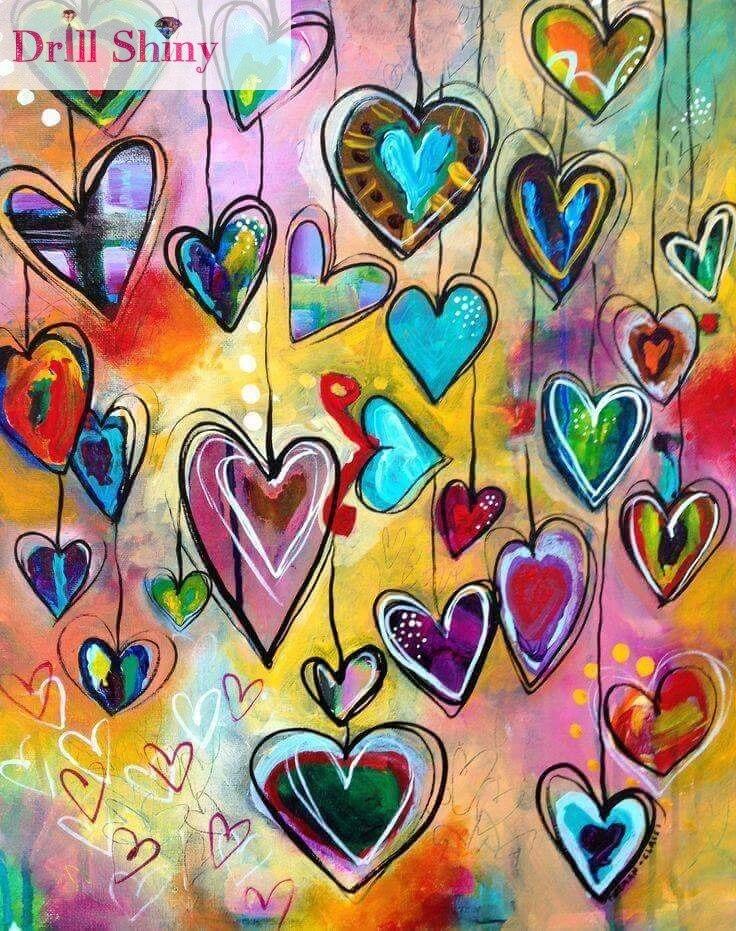 Anul DIY 5D Diamond Broderie Geometric Dragoste Heart Pătrat stras - Arte, meșteșuguri și cusut
