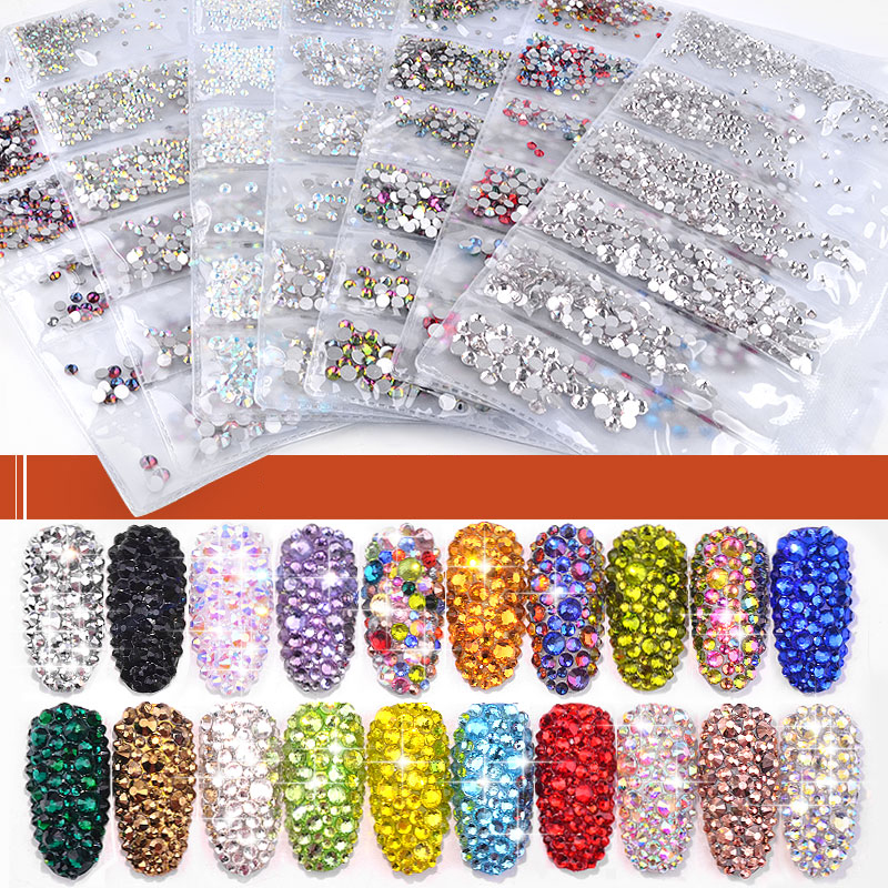 40 cores mix tamanhos de cristal ab vidro arte do prego strass glitter cristais strass arte do prego strass para decorações da arte do prego