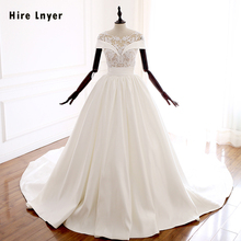 HIRE LNYER Short Sleeve A-line Wedding Dresses With