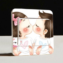 Free shipping lovely kiss switch sticker Fashion creative south Korean style switch wall stickers home decor for kids rooms