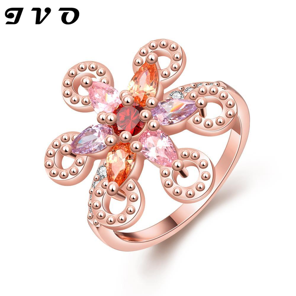 nickle free antiallergic rose gold color colorful rhinestone ring ...