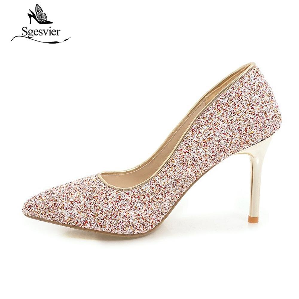Chaussures Femme Mariage rouge Sgesvier 43 Bling Tissu La Nude Pompes or Parti Mince Couleurs Femmes Taille 32 Talons Plus B258 Paillettes Bout Haute De Bleu Pointu 4Zwq4rOa