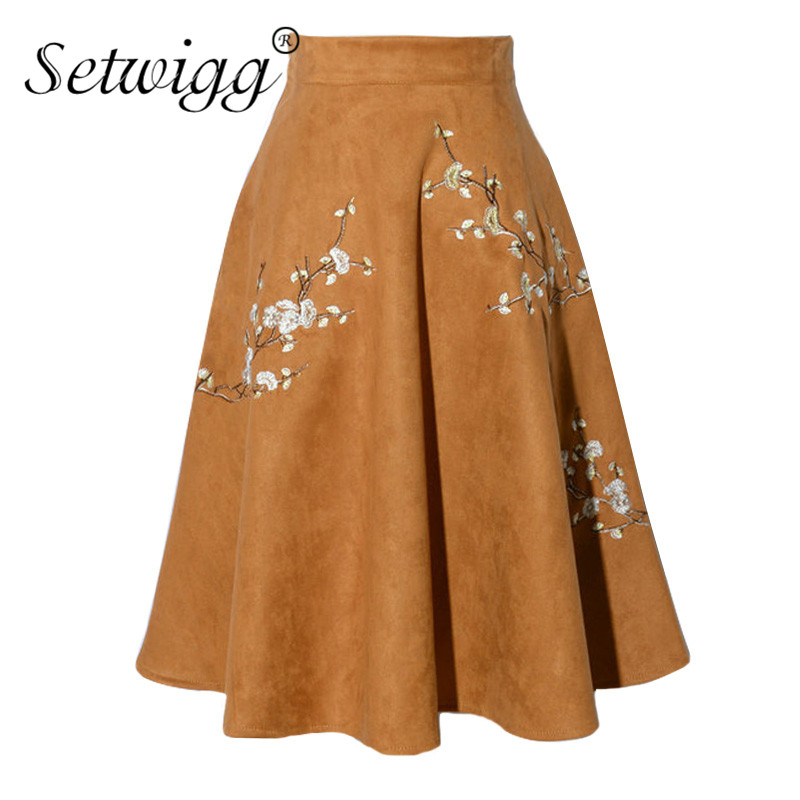 SETWIGG Autumn Thick Suede Midi Skater Skirts Side Pockets Embroidered Plum Blossom Winter Knee Length Flared Skirts SG88