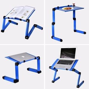 Image 5 - אלומיניום סגסוגת מחשב נייד שולחן מתכוונן נייד מתקפל שולחן מחשב סטודנטים מעונות מחשב נייד שולחן מחשב Stand מיטת מגש