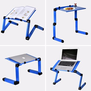 Image 5 - Aluminum Alloy Laptop Table Adjustable Portable Folding Computer Desk Students Dormitory Laptop Table Computer Stand Bed Tray