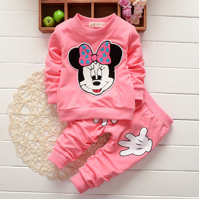 Minnie Mouse Kids Girls Clothes Sets Cute Mickey Toddler Cartoon Print T Shirts+Casual Trousers Sport Suit Vetement Enfant Fille