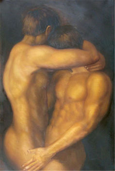 Hand painted oil painting, male body art, gay free shipping Collectibles shipping free