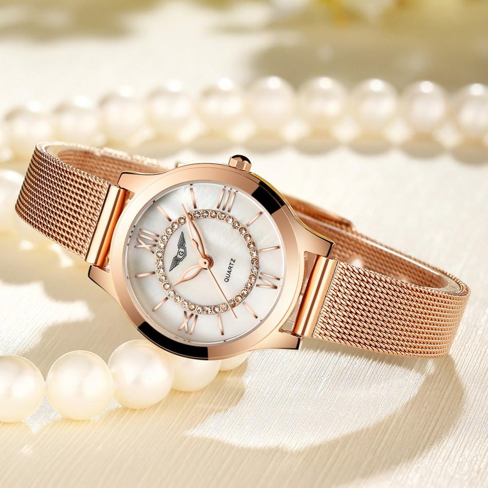 GUANQIN Women Watches Fashion Casual Quartz Watch Gold Women Bracelet Watch Stainless Steel Strap relogio feminino famous brand  (7)
