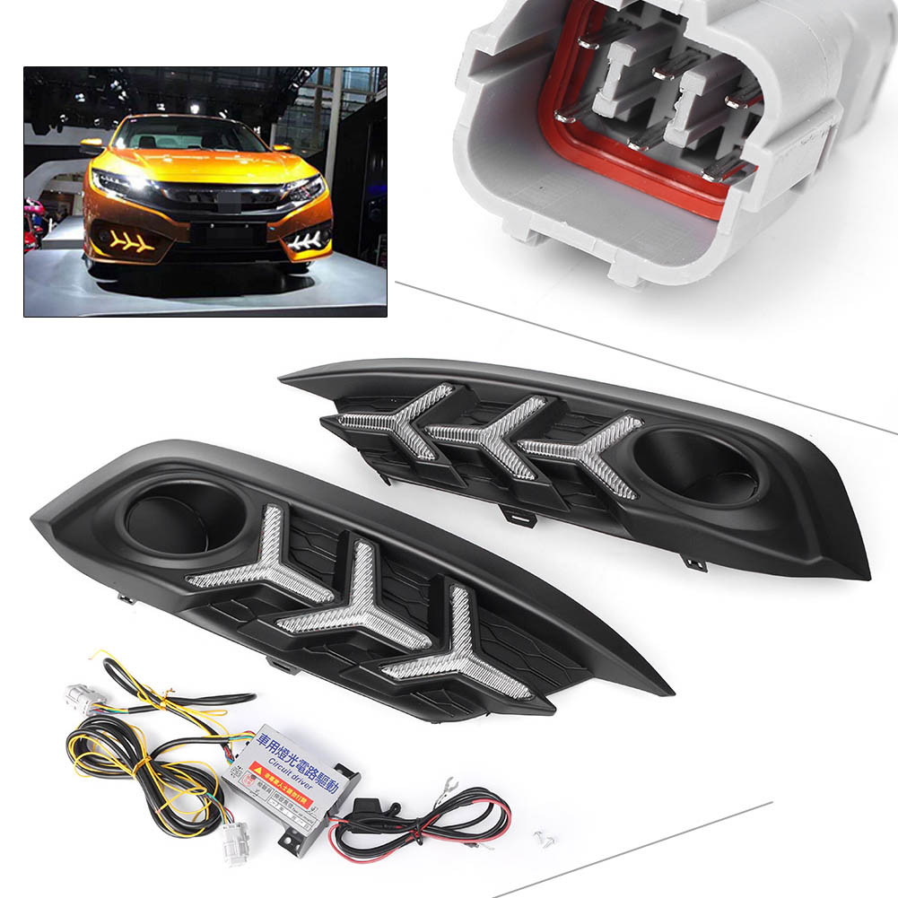 Car DRL Daytime Running Light LED Fog Lamp Turn Signal Fit Honda Civic 2016 2017 2018 2x car flexible led daytime running lights turn signal auto drl cob driving fog lamp car light source for honda toyota nissan