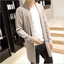 M-5XL NEW Spring And Autumn Men Cashmere Sweater Slim Cardigan Long Casual bottoming sweatercoat trench singer costumes clothing