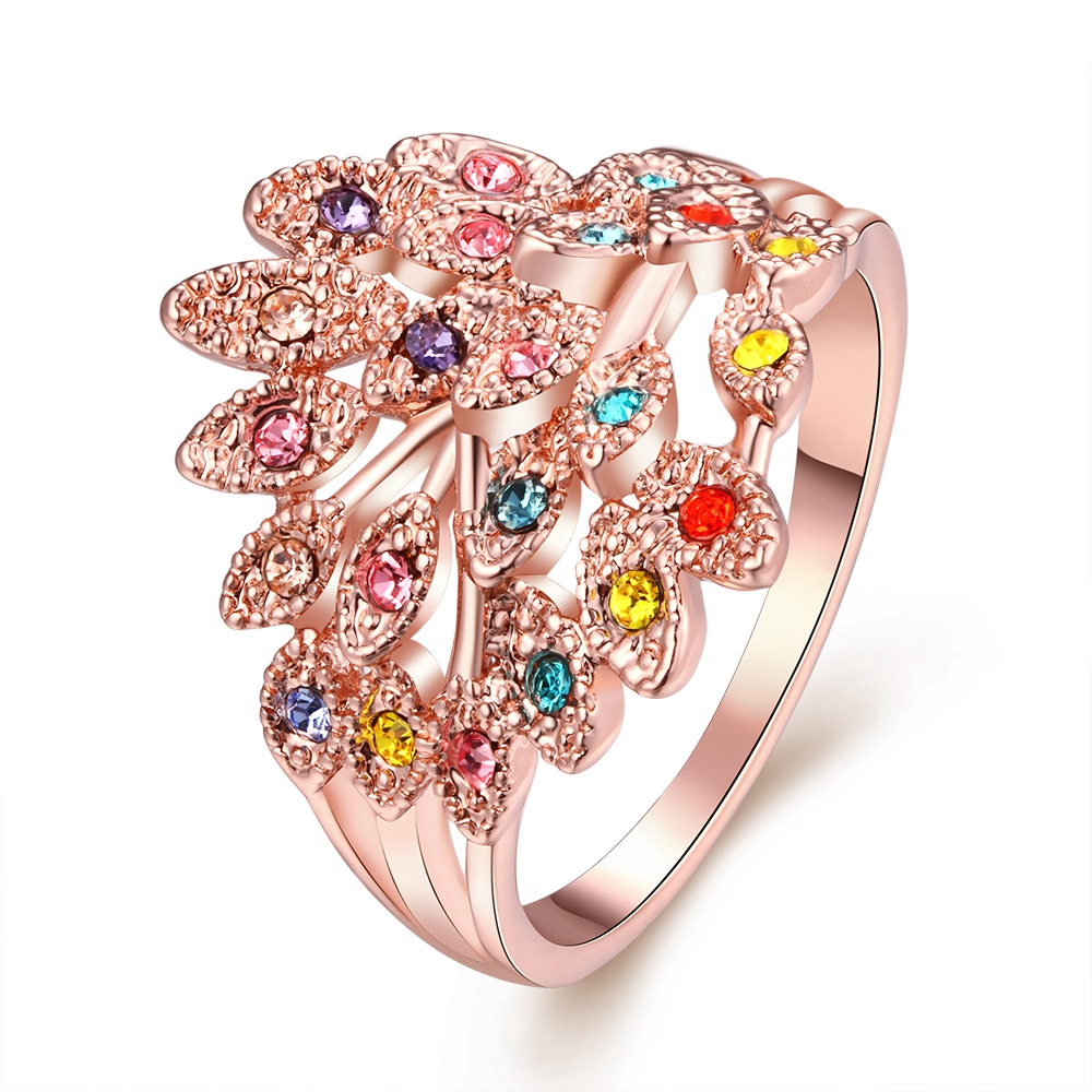⊹Rose Gold Color Rings With Zircon Women Rhinestones Anillos Mujer ...