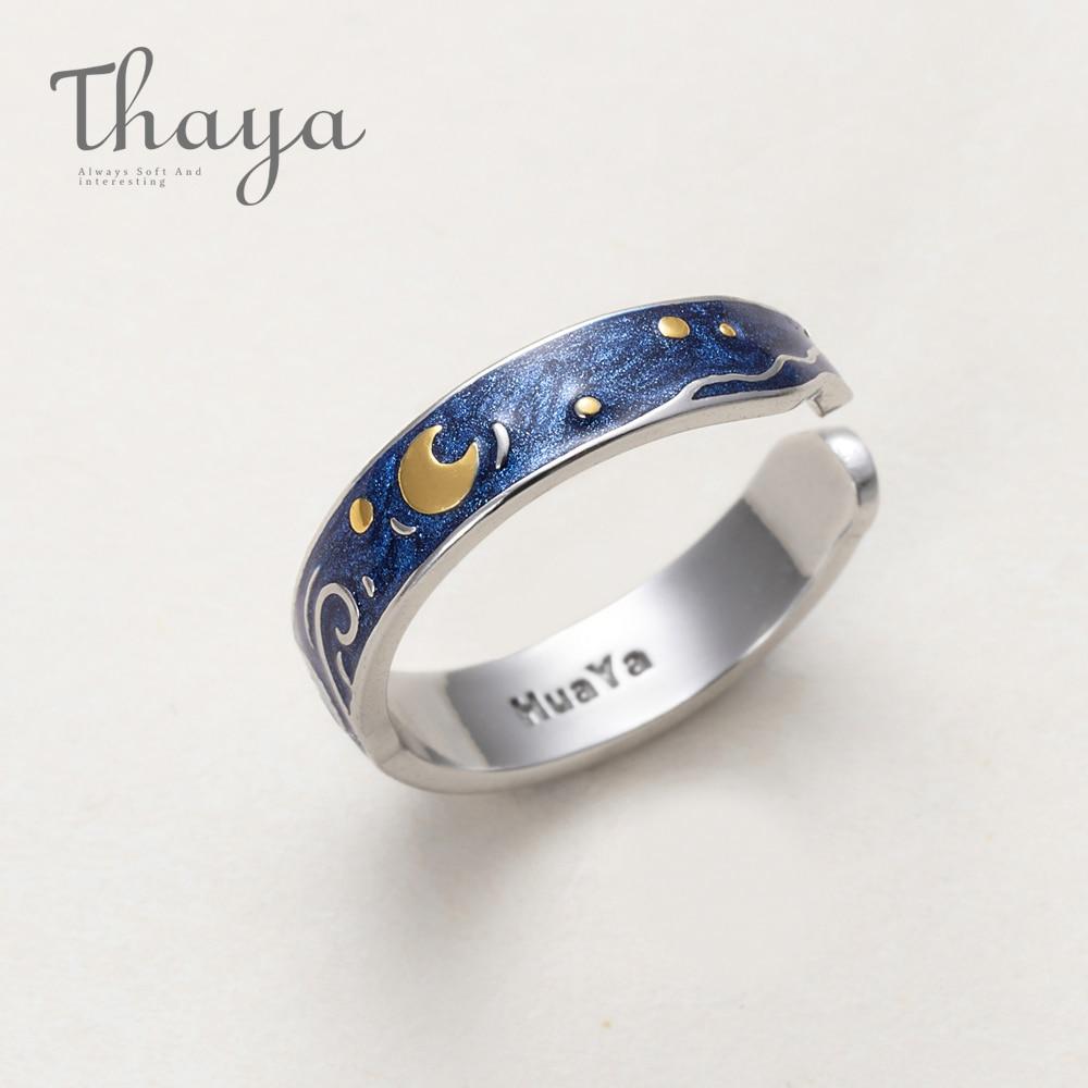 Thaya de s925 anillo de plata de Van Gogh brillo ciervos cielo oro Luna estrella anillo de dedo, joyería Vintage para las mujeres