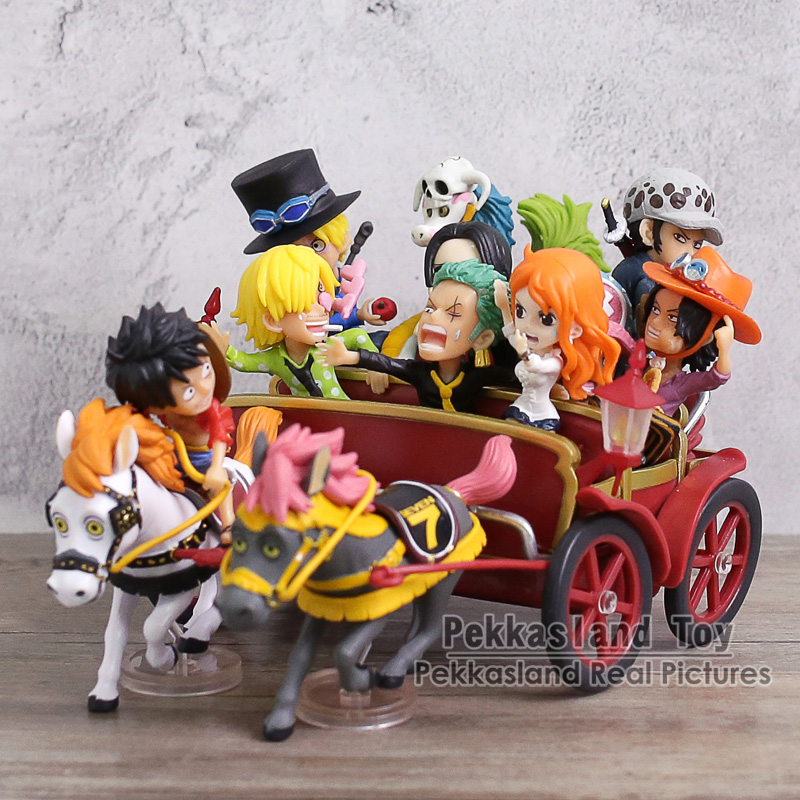 Anime One Piece 20th Anniversary Luffy Zoro Sanji Nami Ace Sabo Law Boa Hancock Carriage Ver. PVC Figures Toys Set