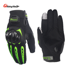 Riding Tribe Touch Screen Moto Gloves Breathable Protective Gear Bike Racing Non-skid Guards Glove Summer Black Green MCS-17
